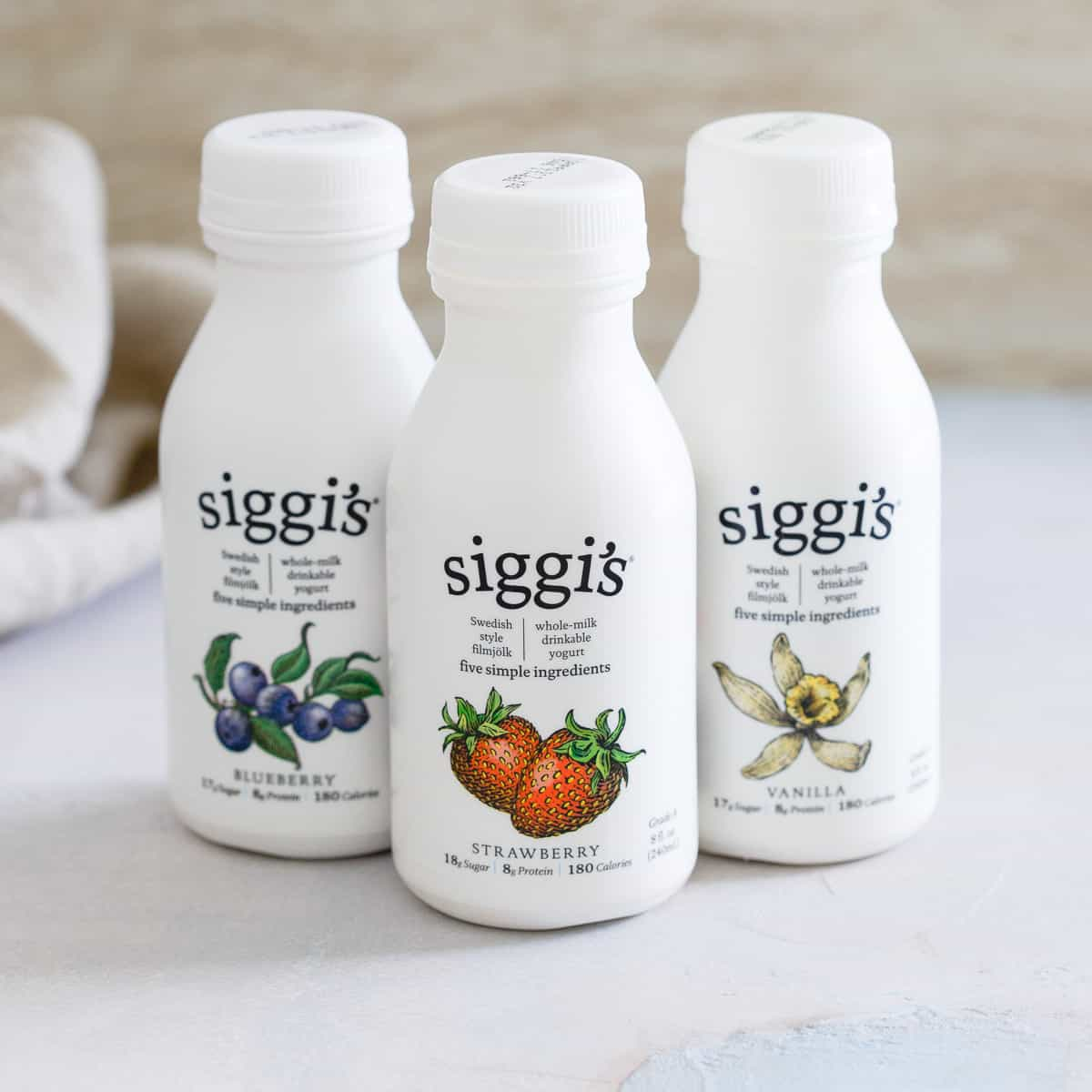 siggi's whole milk drinkable yogurt come in blueberry, strawberry and vanilla for a great healthy on-the-go option when you're rushed for breakfast.