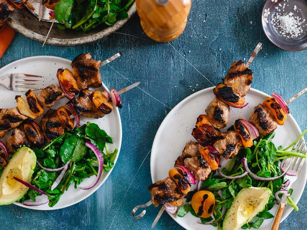 Tender lamb kebabs are marinated in a smoky lemon yogurt sauce then grilled with apricots for a delicious spring meal.