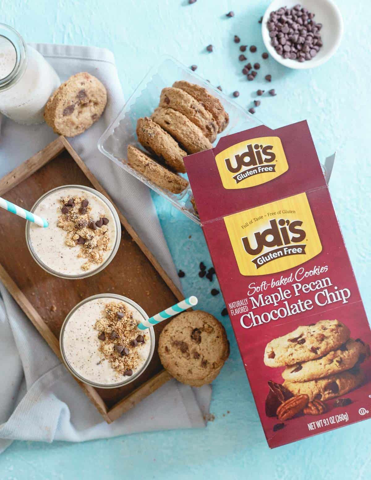 Use Udi's gluten free maple pecan chocolate chip cookies in this healthier smoothie for a deliciously decadent gluten-free treat!