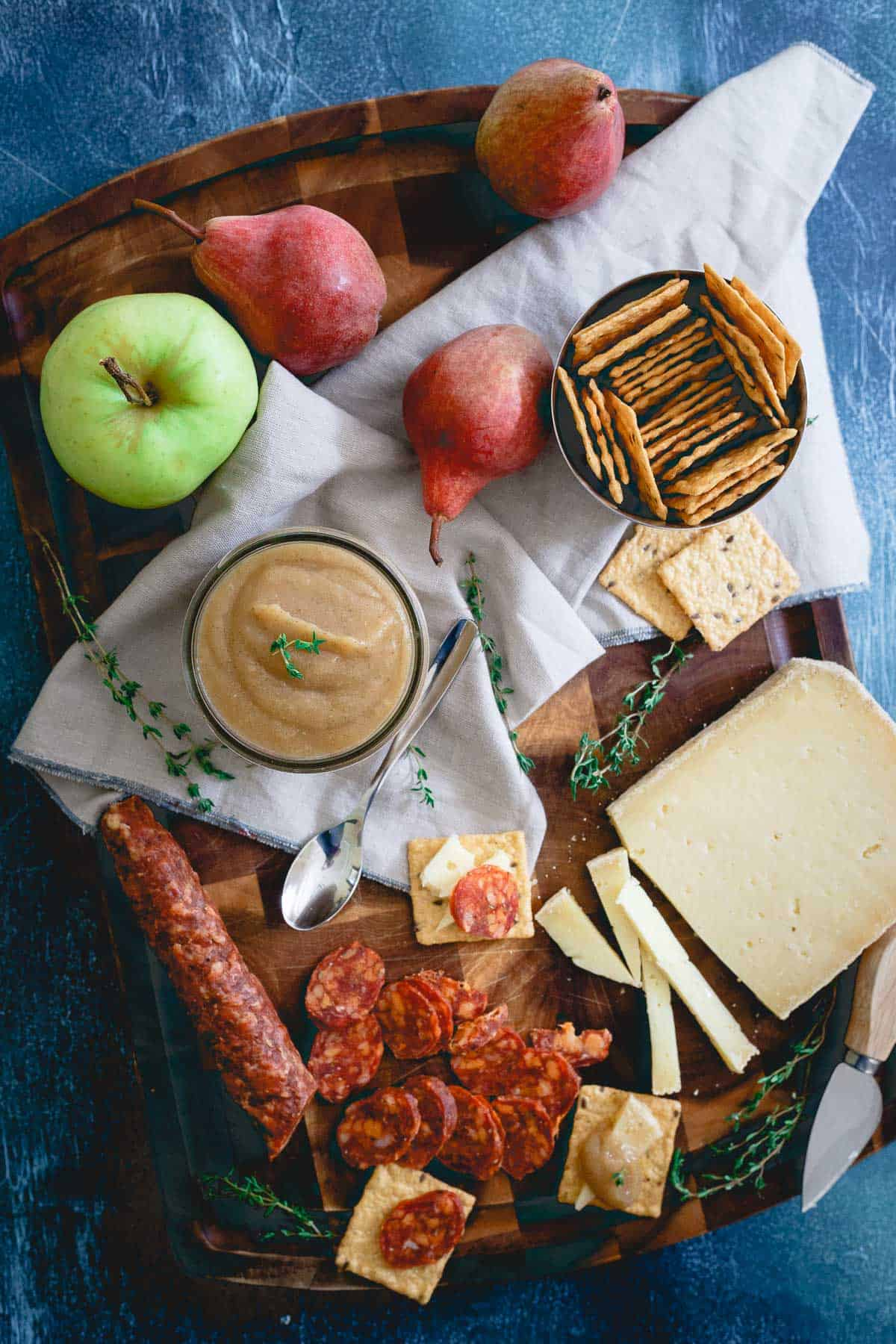 This savory thyme pear apple butter is so simple to make, bursting with fall flavors and pairs deliciously with everything from a dinner roast to an appetizer spread.