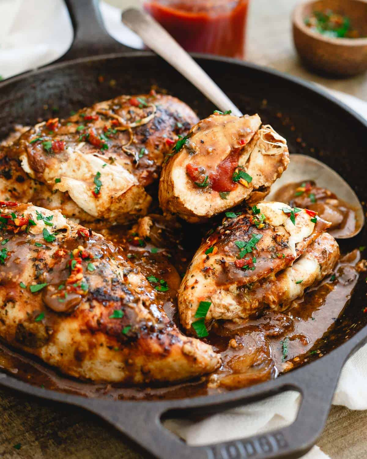 Oozing with melted mozzarella and tomato butter, this stuffed chicken marsala is a deliciously decadent dinner.