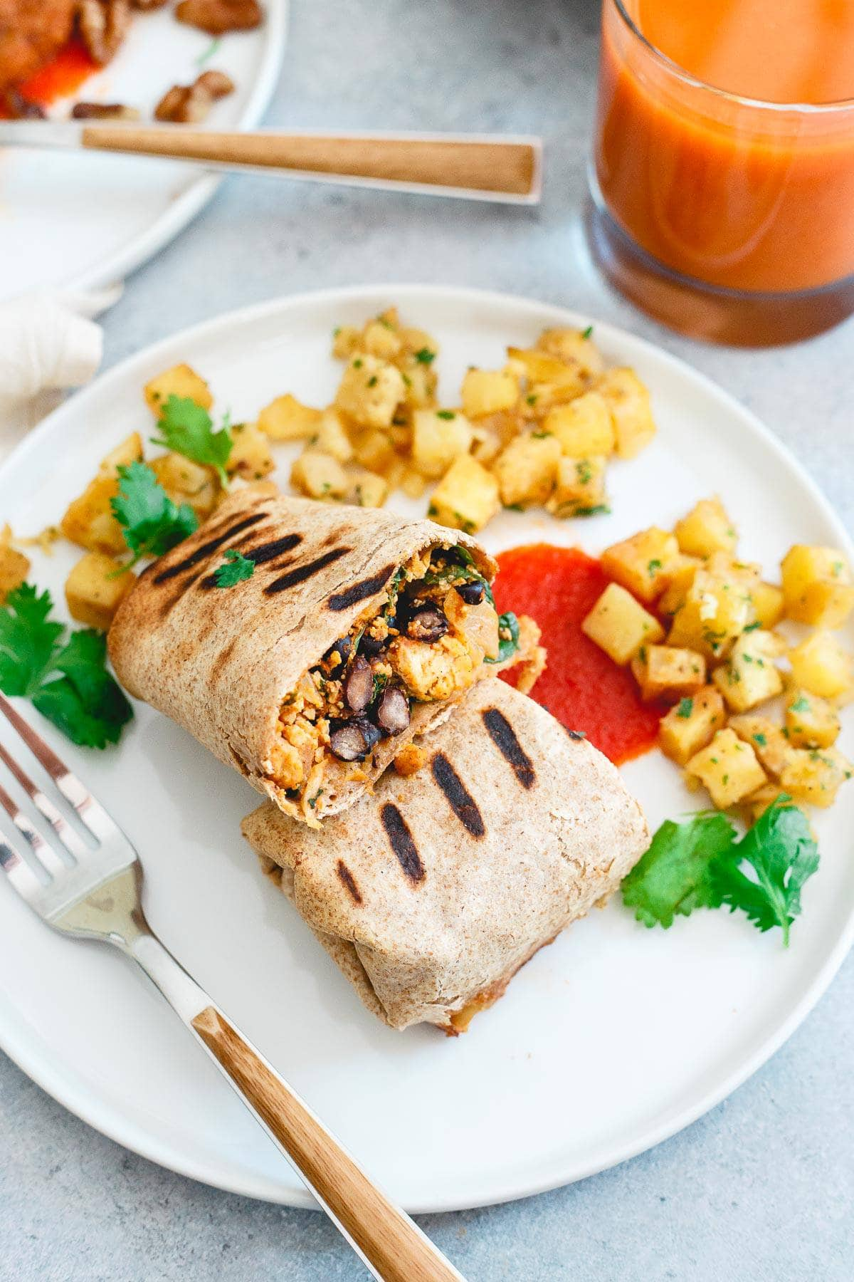 Veestro's breakfast burrito is a delicious, filling blend of potatoes, black beans and tofu and a great option for a plant based breakfast.