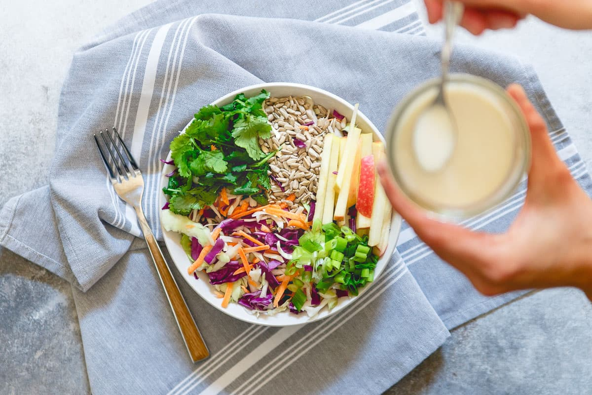 Drizzle this easy creamy kefir honey mustard dressing over your favorite salad for a probiotic boost to your meal.