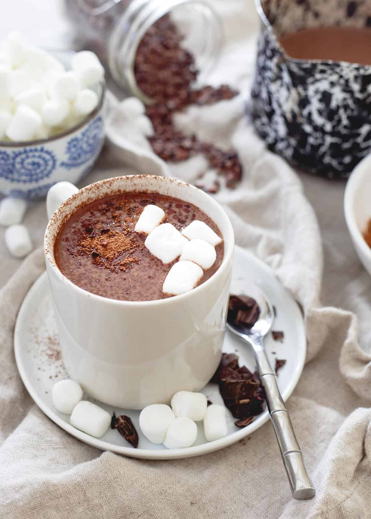 Tart cherries can help aid in muscle recovery and sleep. A mug of this creamy, decadent tart cherry hot chocolate is not only delicious but a nutritiously smart winter treat!