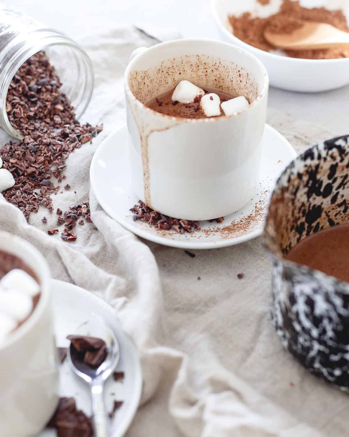 Top off a mug of this tart cherry hot chocolate with cocoa powder, cacao nibs and of course, some marshmallows for a delicious winter treat.