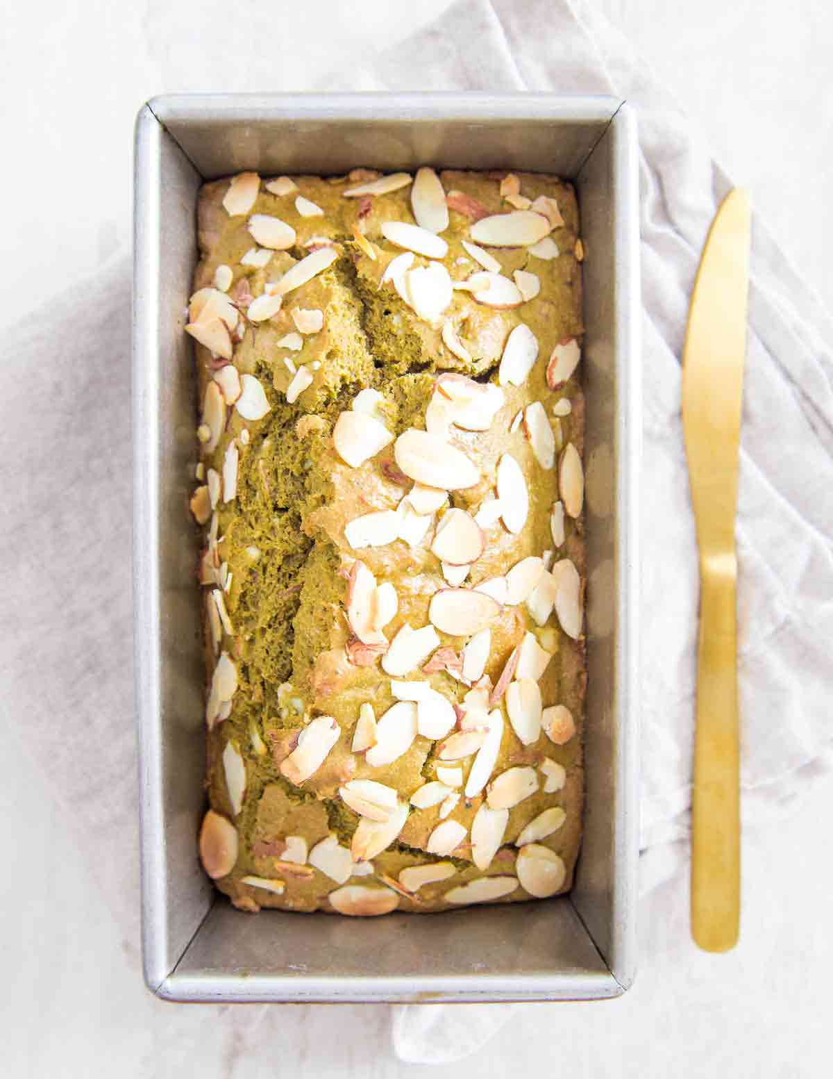Matcha Bread with almonds is a delicious and easy quick bread recipe perfect for snacking, breakfast or dessert.