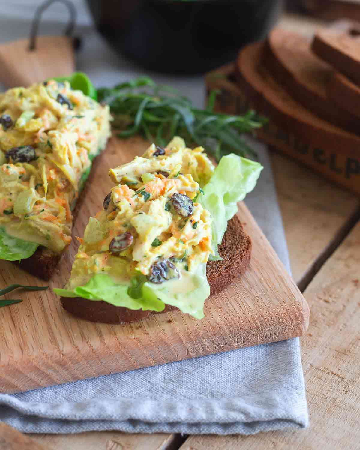 Sweet raisins and cinnamon complement savory turmeric and tarragon in this chicken salad.