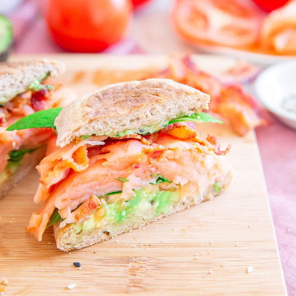 Enjoy this salmon BLT with smashed avocado for breakfast or lunch.