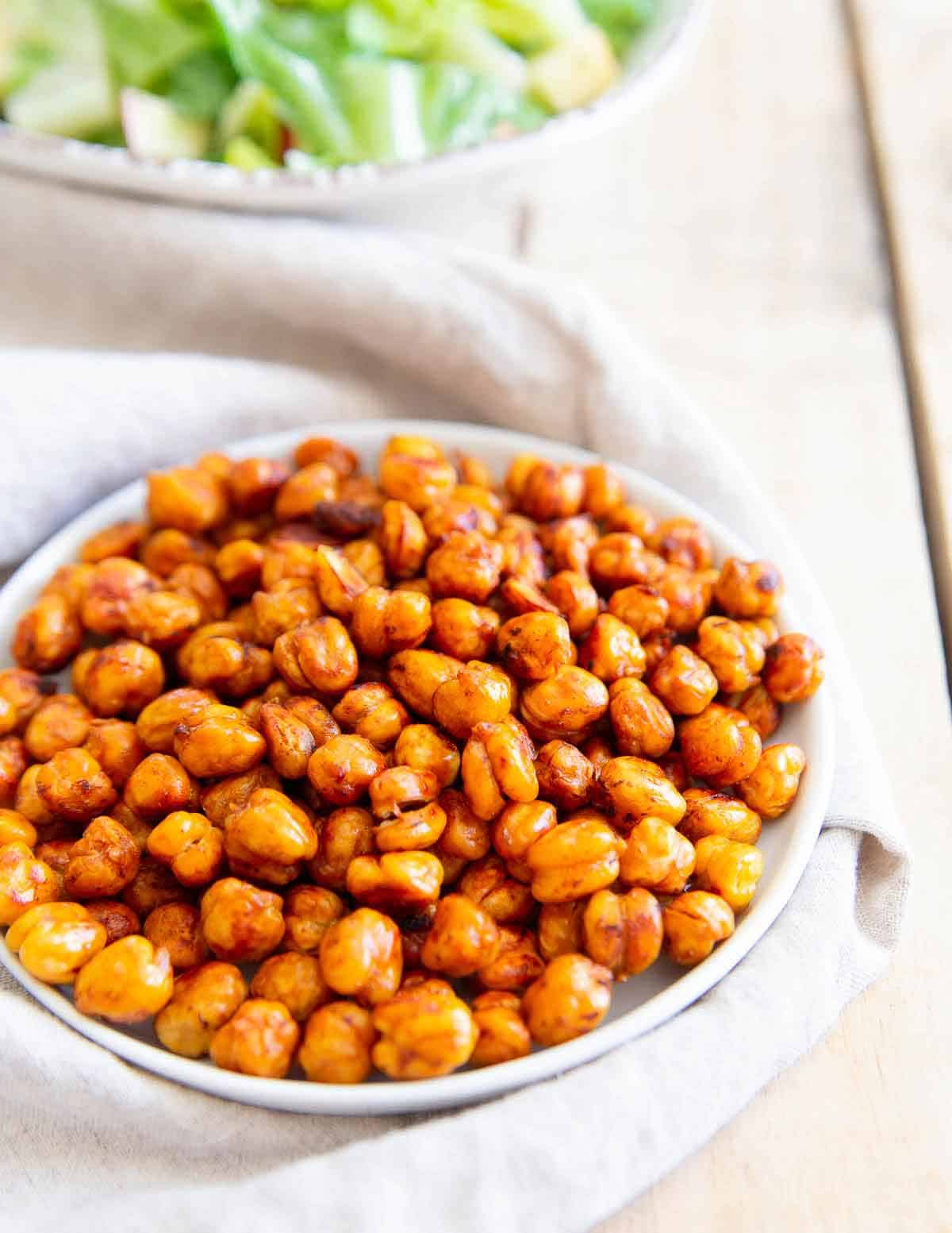 BBQ sauce and this simple roasting method results in these super easy BBQ chickpeas - perfect for snacking!