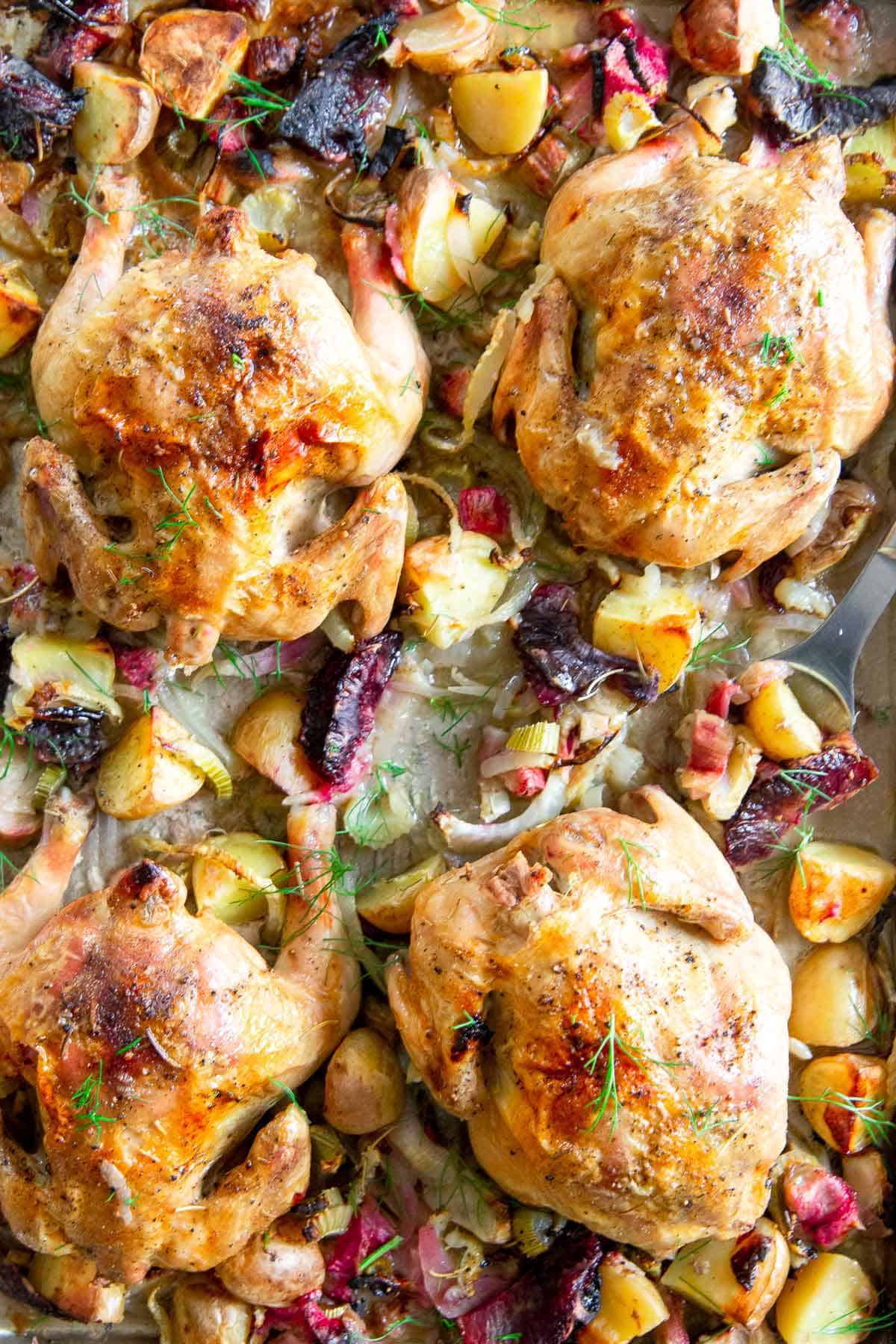 Looking for a spring dinner that's impressive, packed with flavor yet super simple? Try this sheet pan Cornish Game Hen recipe.