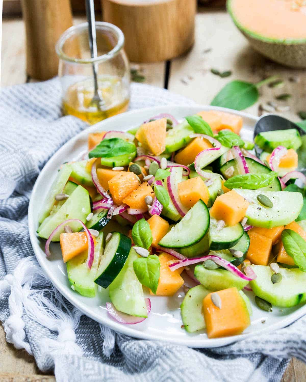 This cucumber melon salad is a great summer salad. With pickled onions and sweet, ripe cantaloupe, it goes great alongside any grilled meat.