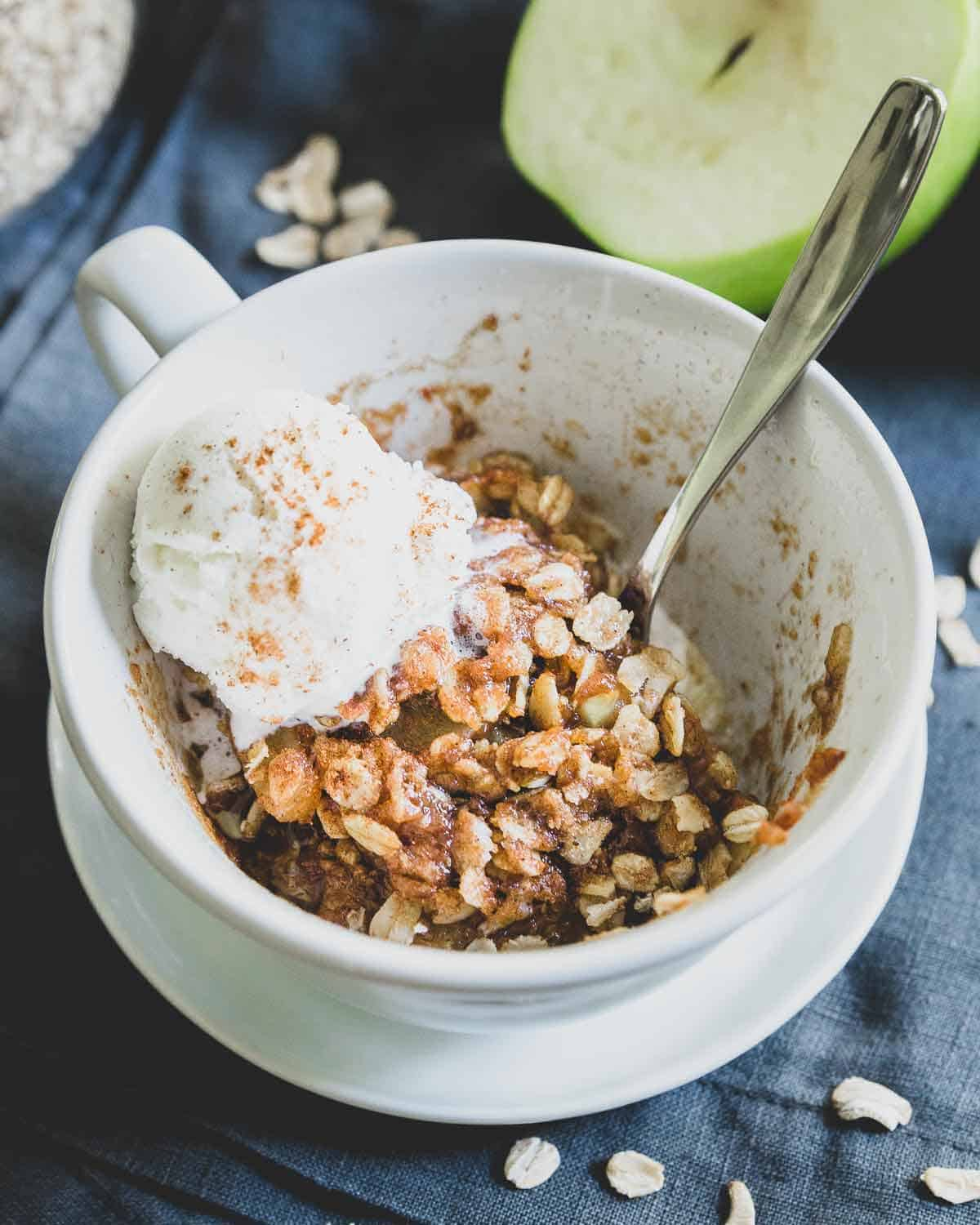 This easy microwave apple crisp recipe is a quick single serve option when you need a delicious fall dessert in minutes. Top with a scoop of ice cream or some whipped cream and enjoy!