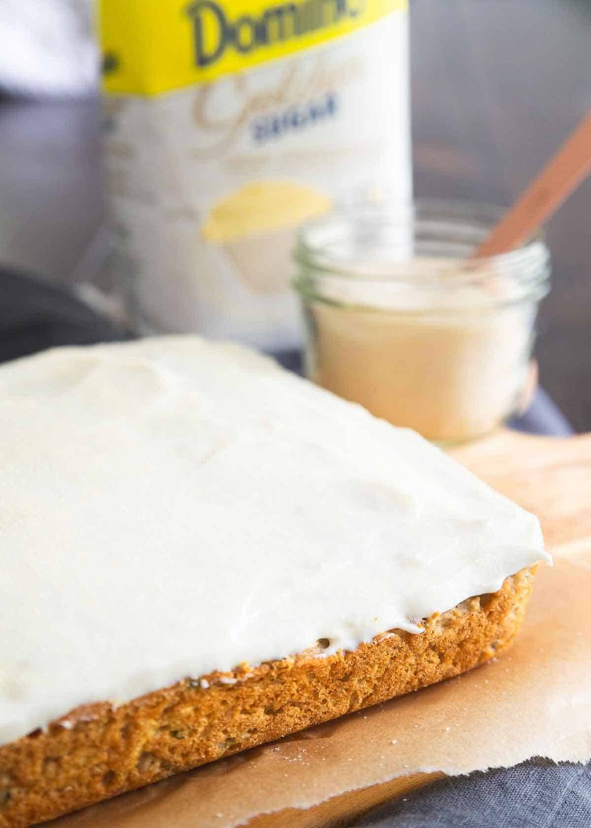Zucchini bars with cream cheese frosting make a delicious snack or healthier dessert.