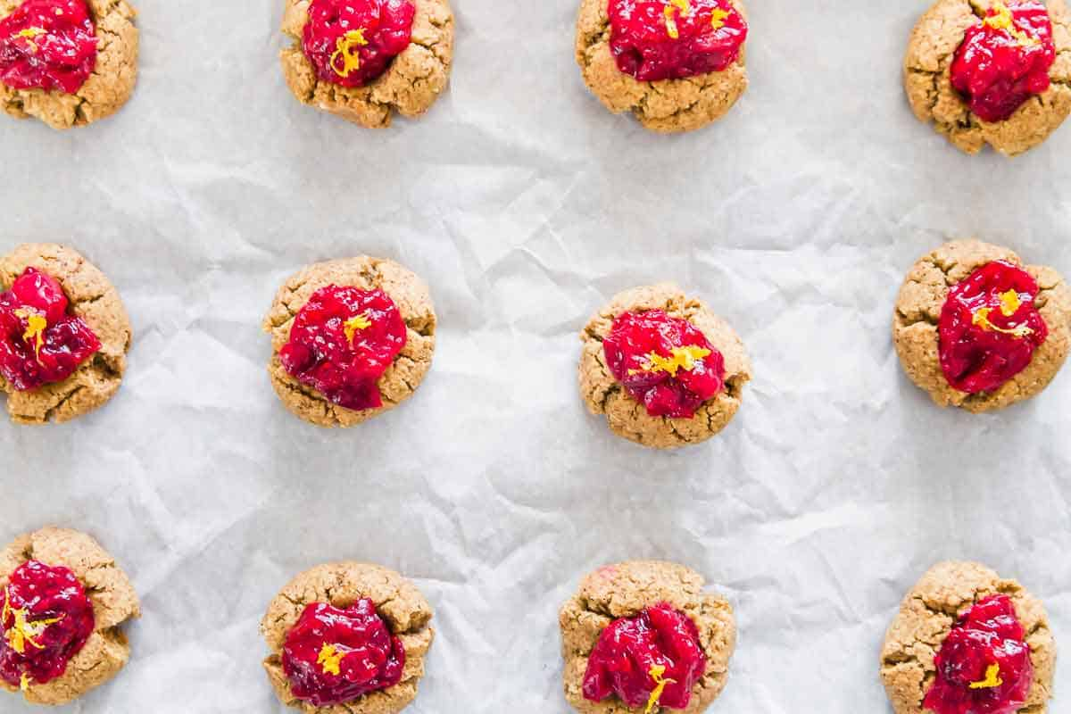 Cranberry orange almond cookies made with leftover almond pulp from homemade almond milk.