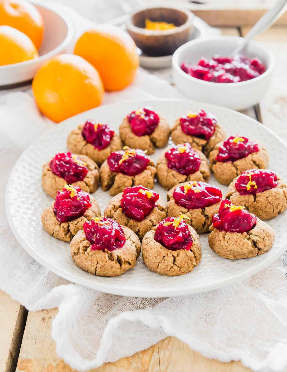 Thumbprint almond pulp cookies are the easiest and tastiest way to use leftover almond pulp from homemade almond milk - a gluten-free & vegan recipe using almond pulp and oat flour.