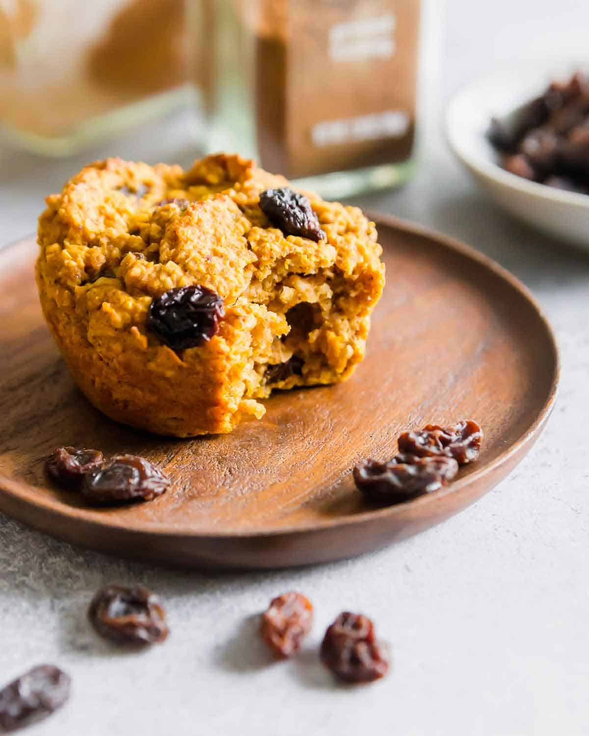 Bran muffins made with sweet potato puree and packed with raisins are a nutritious, gluten-free and vegan snack perfect for colder weather.