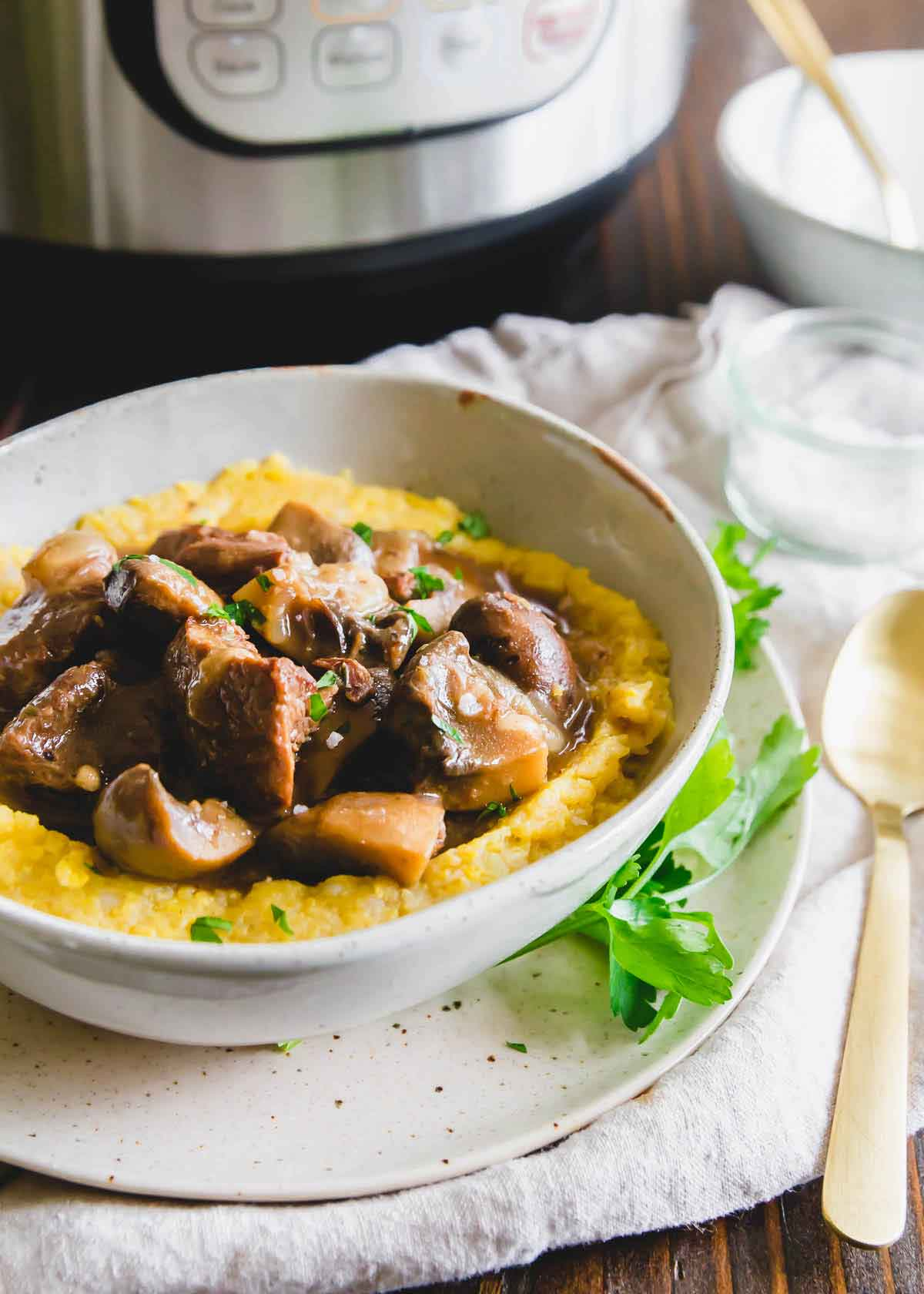 This beef and mushroom stew made in the Instant Pot is a hearty, comforting, stick to your ribs kind of meal that's perfect for winter.