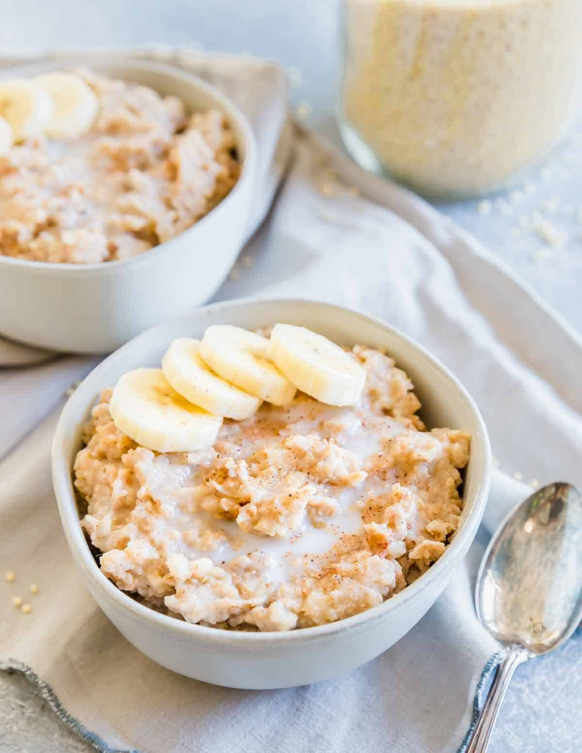 Millet porridge is a creamy, gluten-free breakfast easily made in the slow cooker overnight and ready when you wake up. With hints of cinnamon and vanilla it's the perfect base to top with your favorite fresh fruit, nuts and seeds for a hearty start to the day.