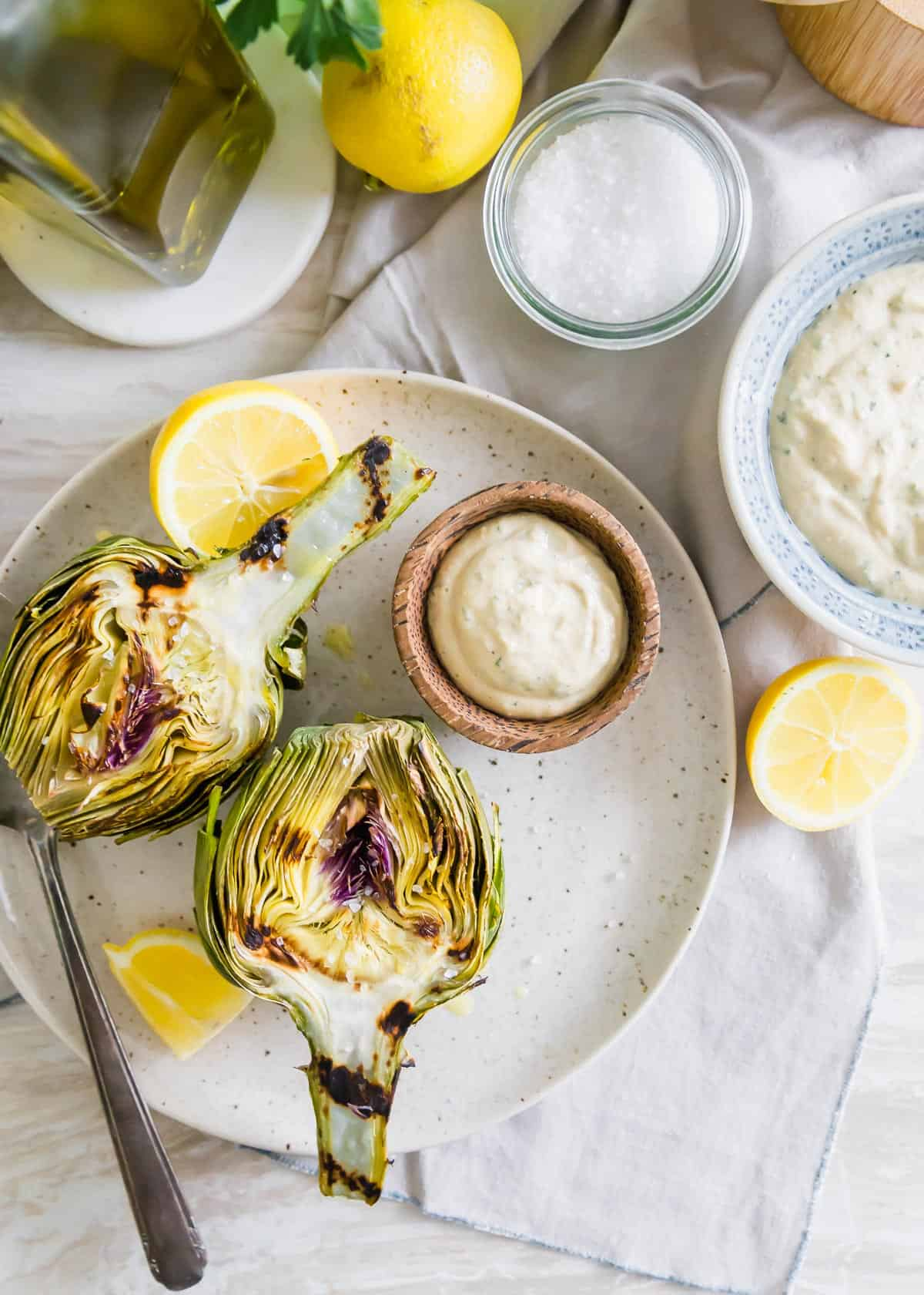 grilled artichokes with lemon tahini dipping sauce