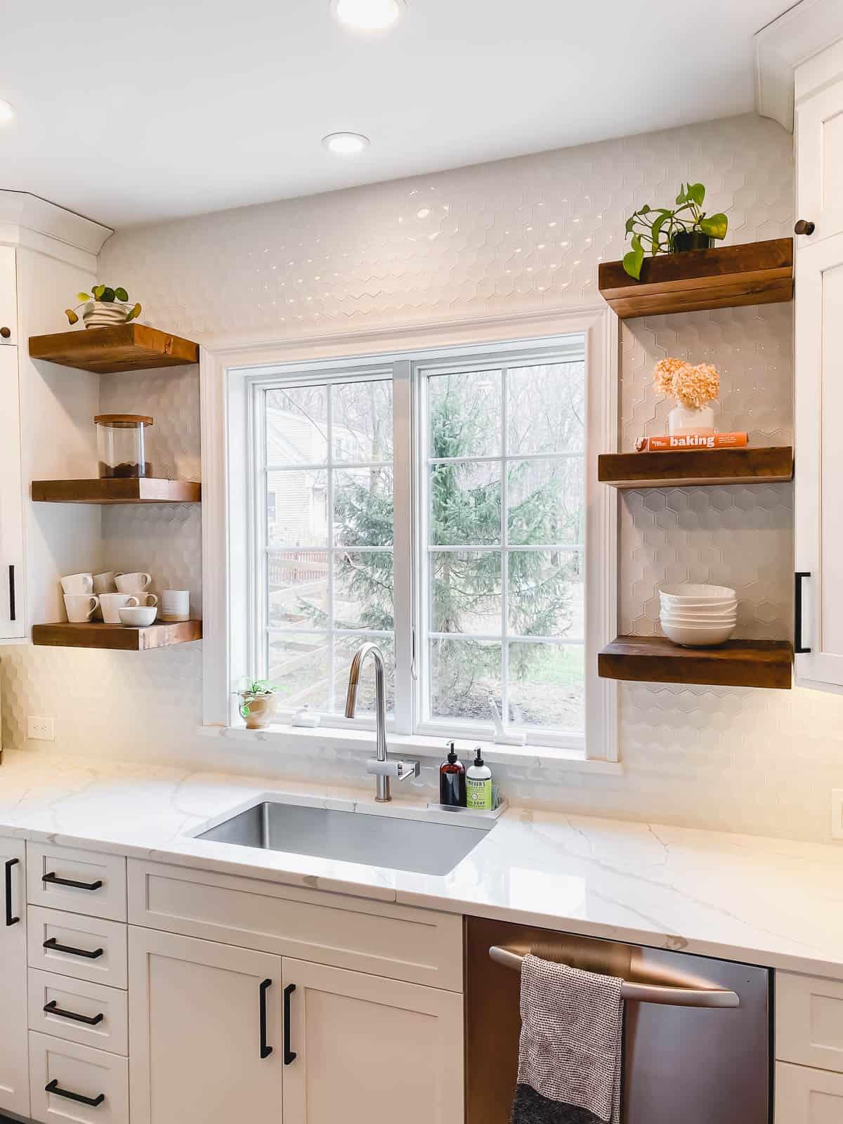 Open reclaimed wood shelving in kitchen