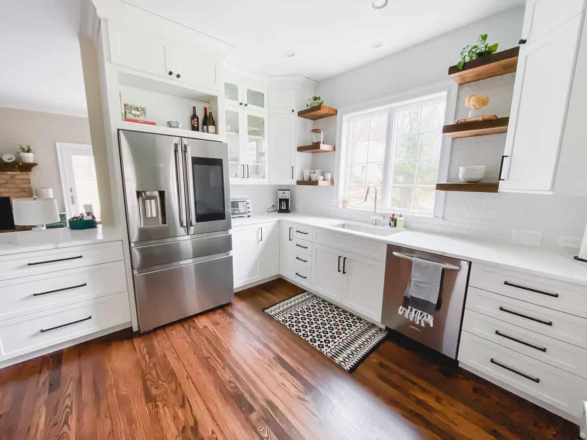 white Shiloh cabinets in kitchen remodel