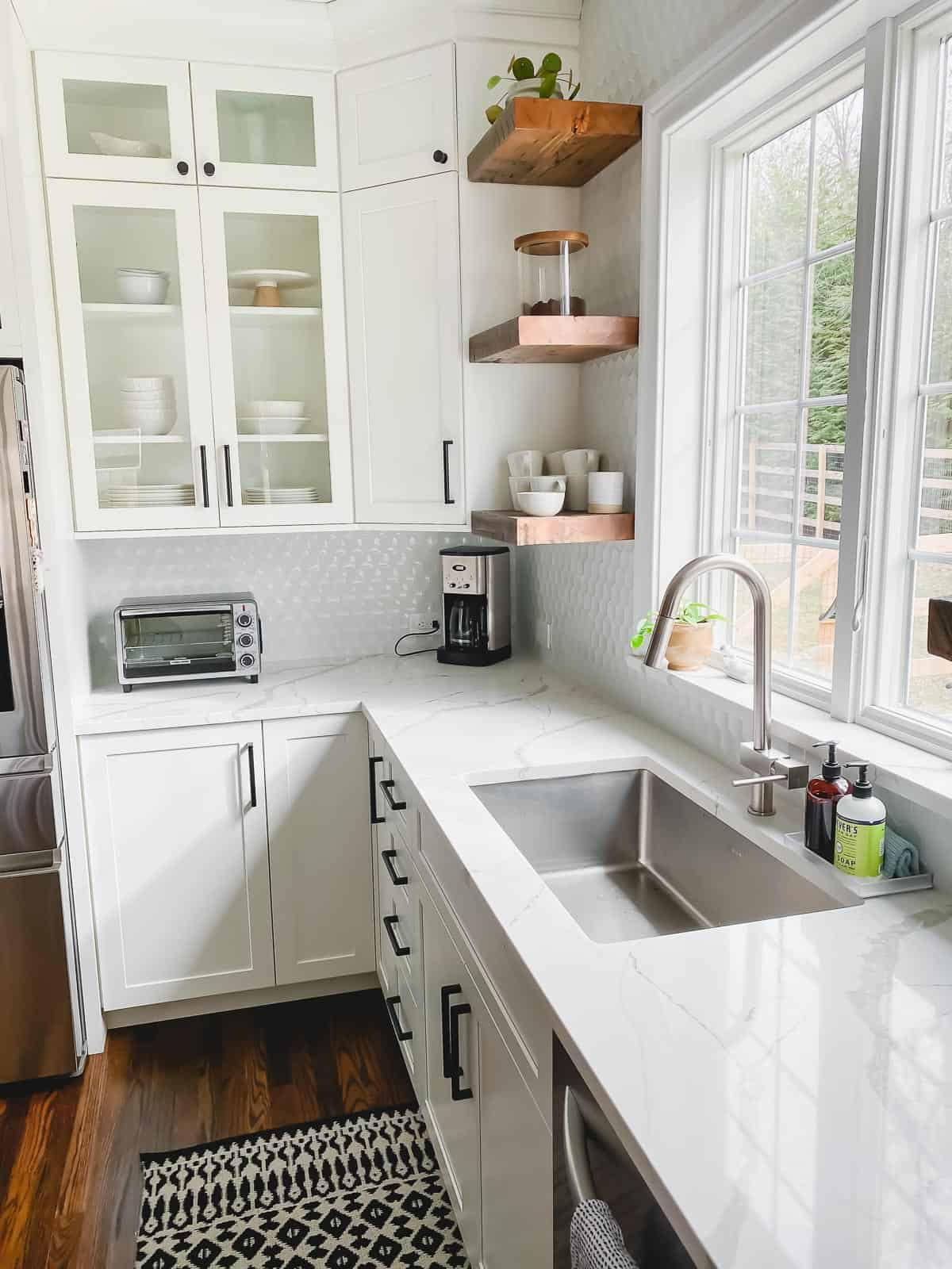 open shelving with limited upper cabinets