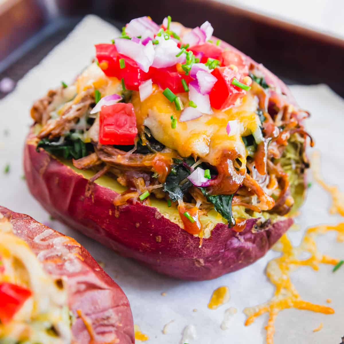 These loaded BBQ brisket baked potatoes are stuffed to the brim and beyond delicious. They're a great recipe if you've got leftover beef brisket on hand and looking for new ways to use it up!