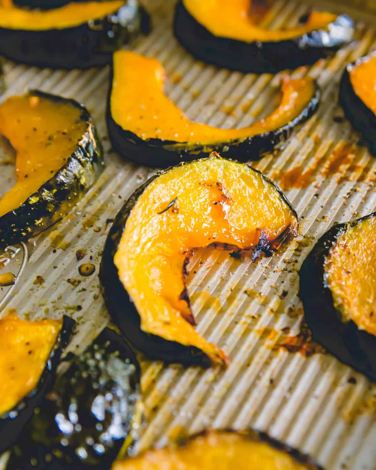 Sweet, caramelized roasted buttercup squash is a delicious fall side dish.