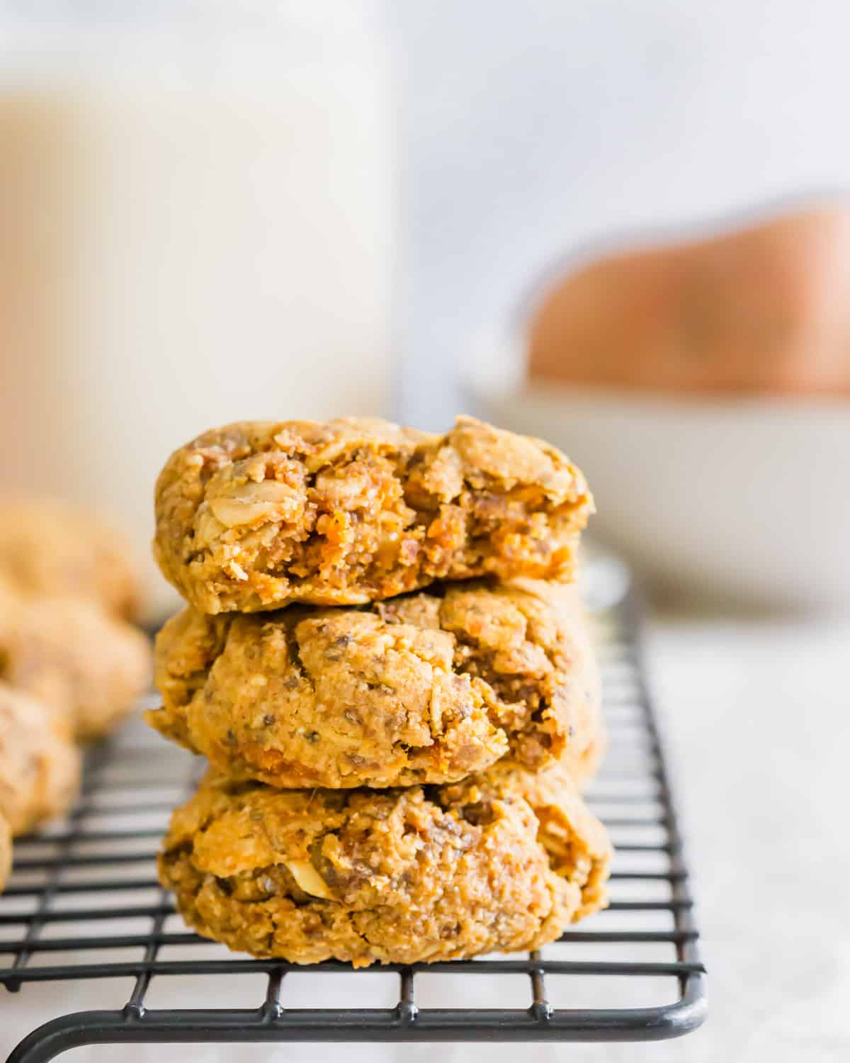 This easy sweet potato cookie recipe is made with mashed sweet potato, oats and almond flour. They're soft, chewy, filled with fall spices, just slightly sweet and naturally gluten-free and vegan!