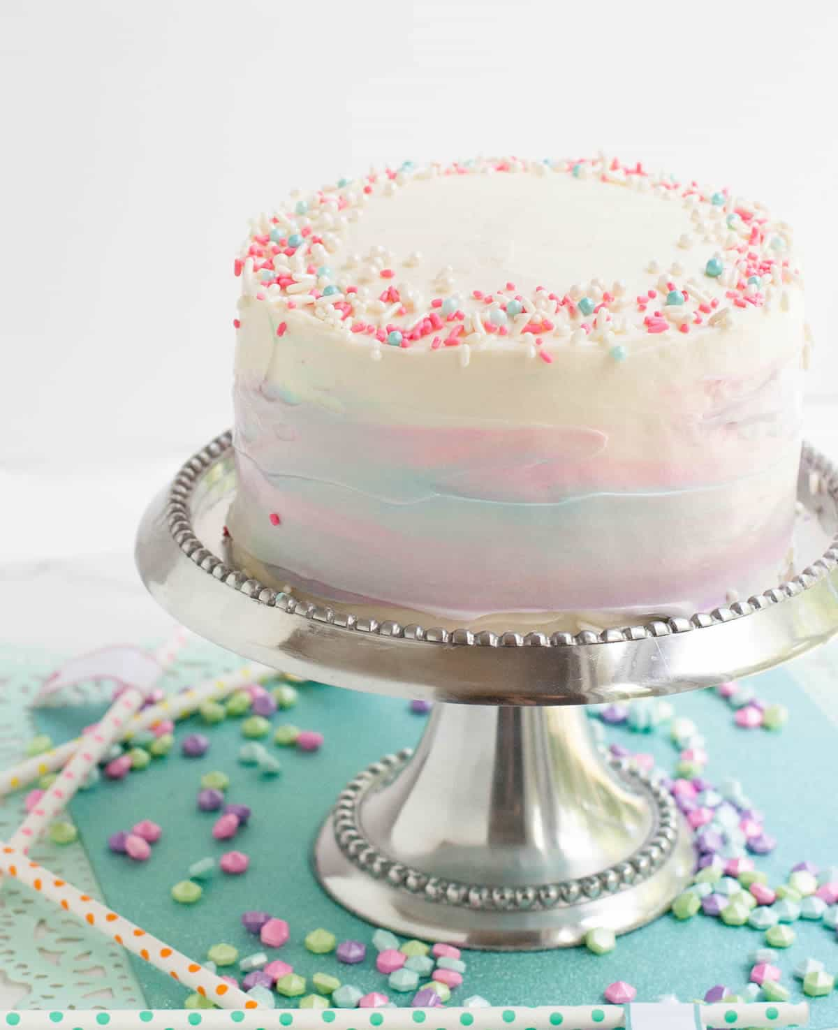The Merchant Baker Turns 2! I'm celebrating with a little unicorn inspired cake, frosted with my favorite Whipped Cream Cream Cheese Frosting!
