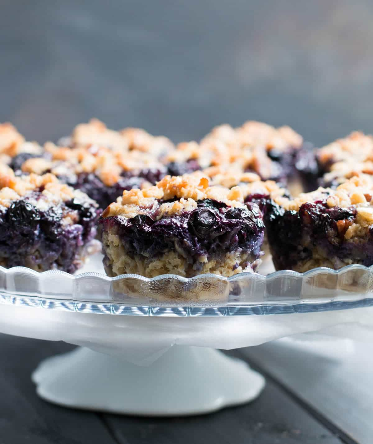 Blueberry Pie Baked Oatmeal. A pile of fresh blueberries and buttery crumb topping create a delicious fruity pie layer on top of hearty baked oatmeal.