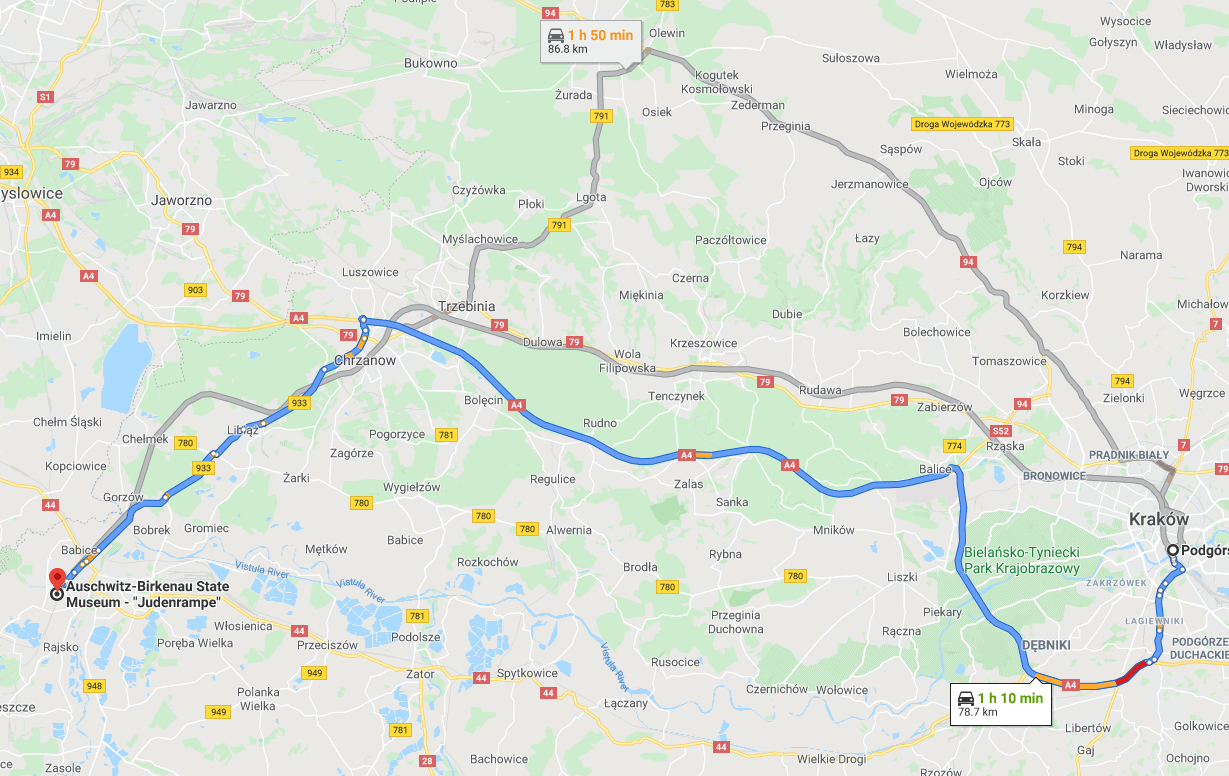 Map showing a fast car route from Krakow to Auschwitz Birkenau