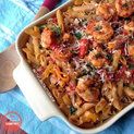 Shrimp & Feta Penne Pasta - if you love seafood and pasta, you will love this healthy, yet filling, pasta dish! #shrimp #pasta #healthy | https://withpeanutbutterontop.com