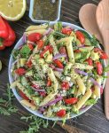 Lemon Garlic and Feta Pasta Salad - an easy, refreshing and healthy pasta salad packed full of flavor. #pastasalad #lemon #healthy #salad | https://withpeanutbutterontop.com