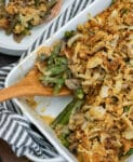 Baking dish filled with green bean casserole.