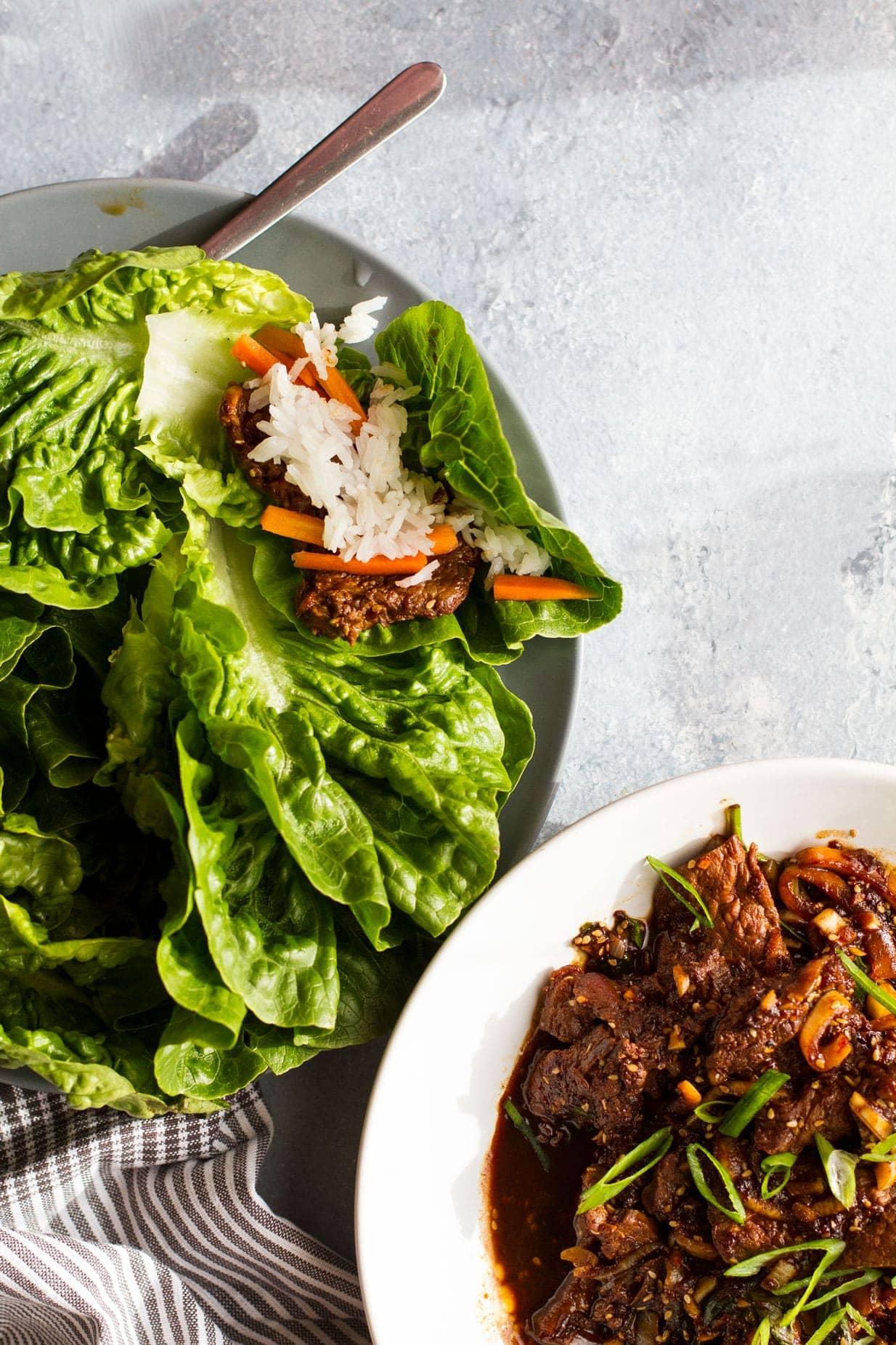 Beef bulgogi ingredients, flatlay.