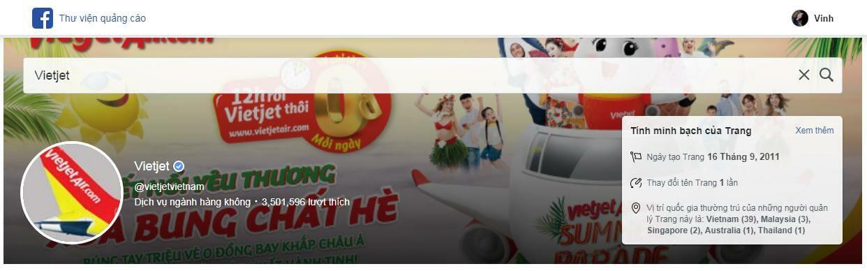 Xem quảng cáo fanpage vietjet