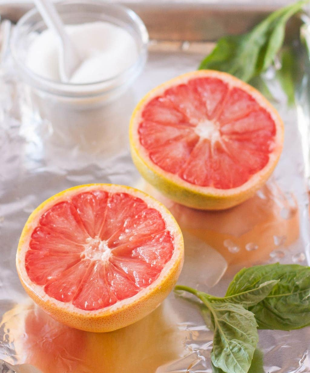 Broiled Grapefruit with Basil