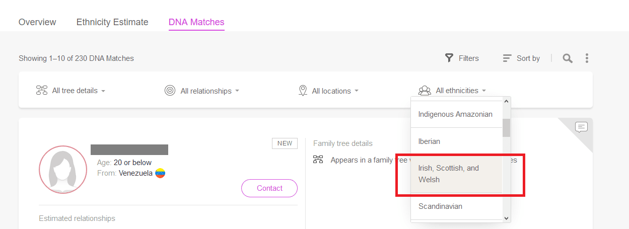 How to filter My Heritage DNA in the dropdown menu