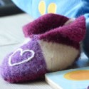 Felted slipper with puzzle and plush dinosaur square crop sm