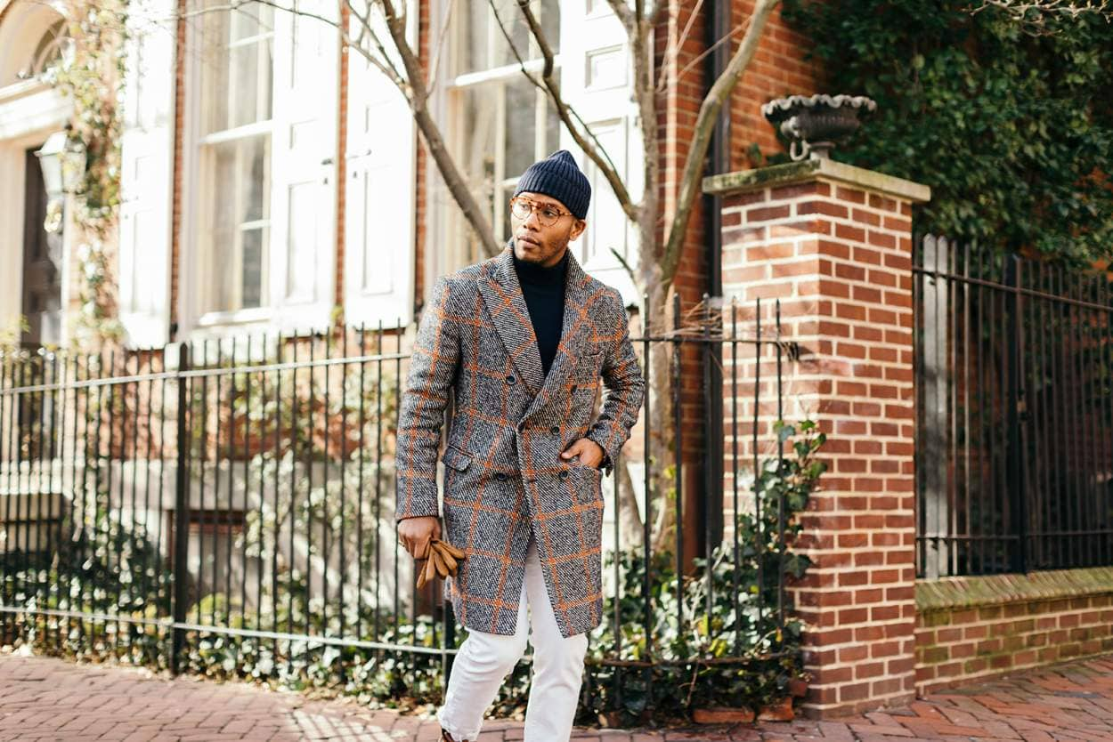 Sabir M. Peele in Ratta 1989 Plaid Topcoat