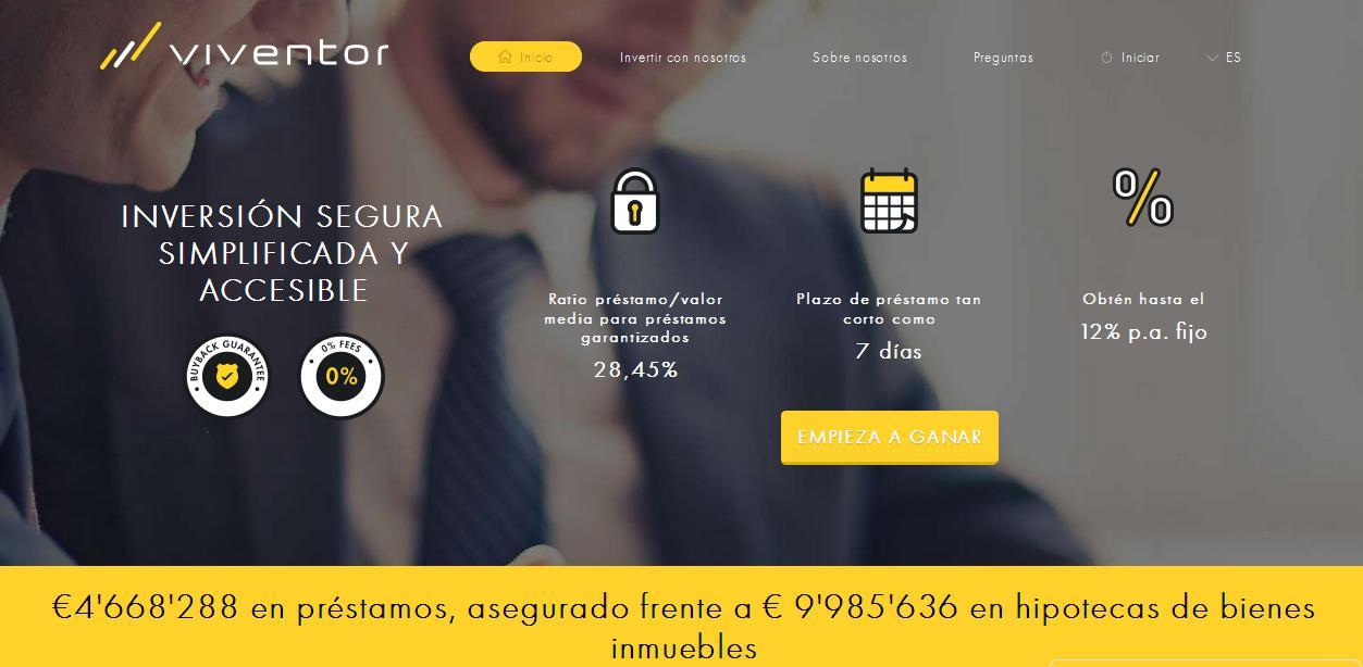 Viventor: crowdlending p2p con garantia de recobro