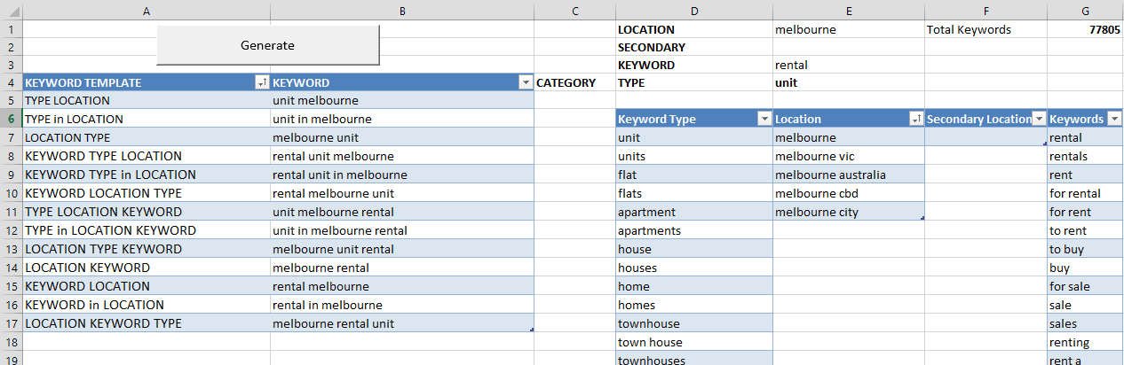 Keyword builder in Excel