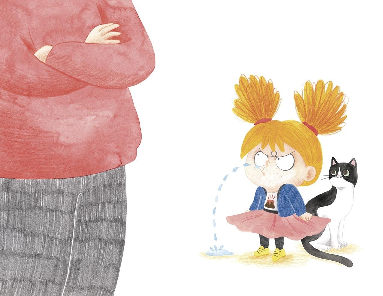 Ana está furiosa, ilustración infantil, ilustración para niños, niña enfadada, Christine Nöstlinger, Mar Villar, El Barco de Vapor, SM, ilustración de niña y gato,