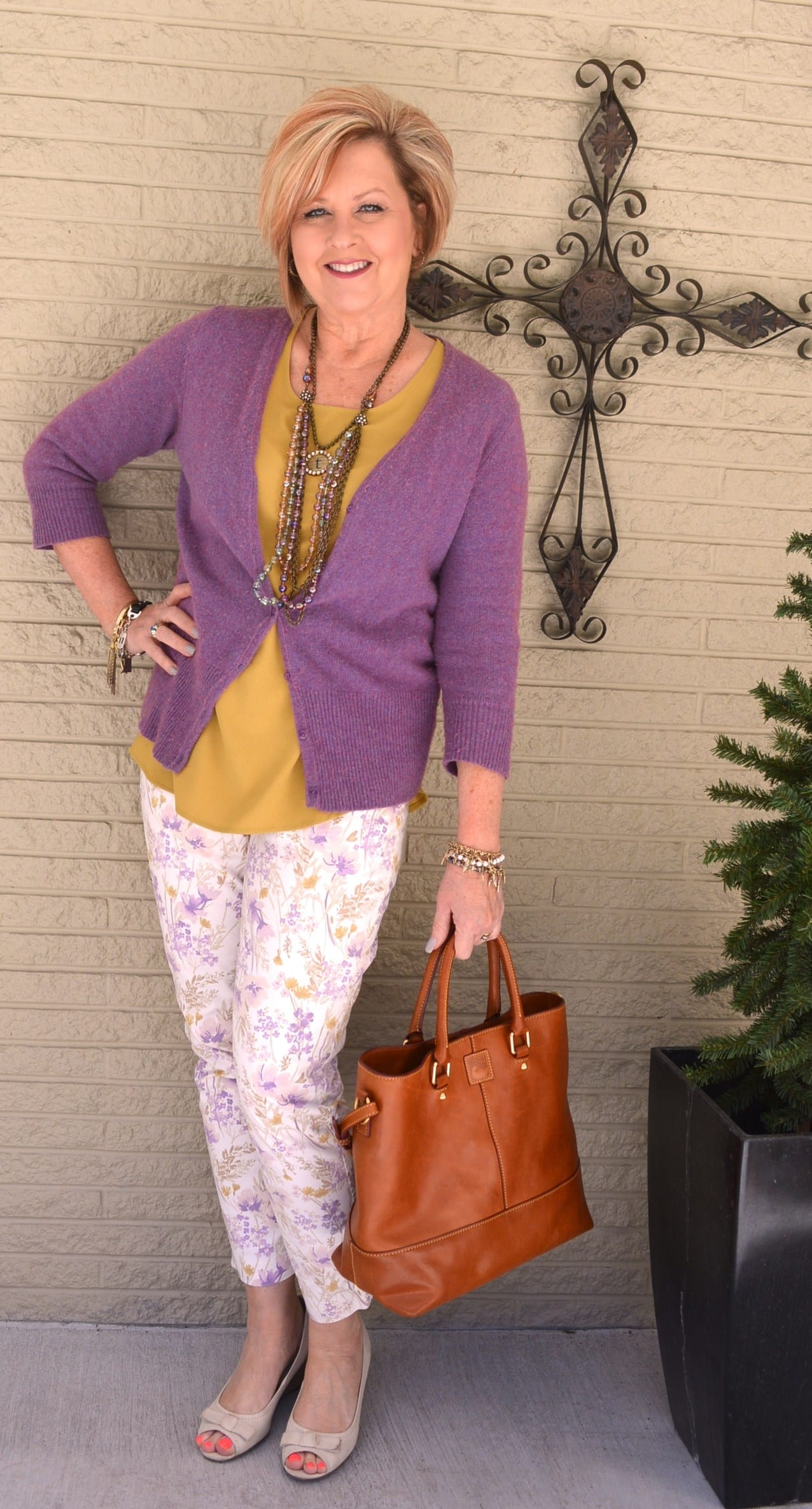 purple and mustard outfit |40plusstyle.com