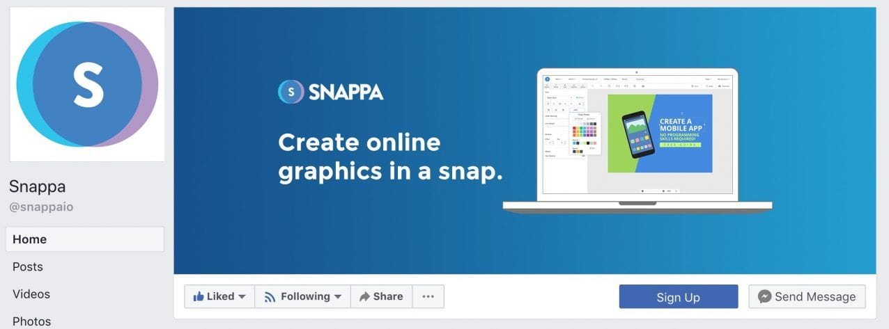snappa facebook cover photo on desktop
