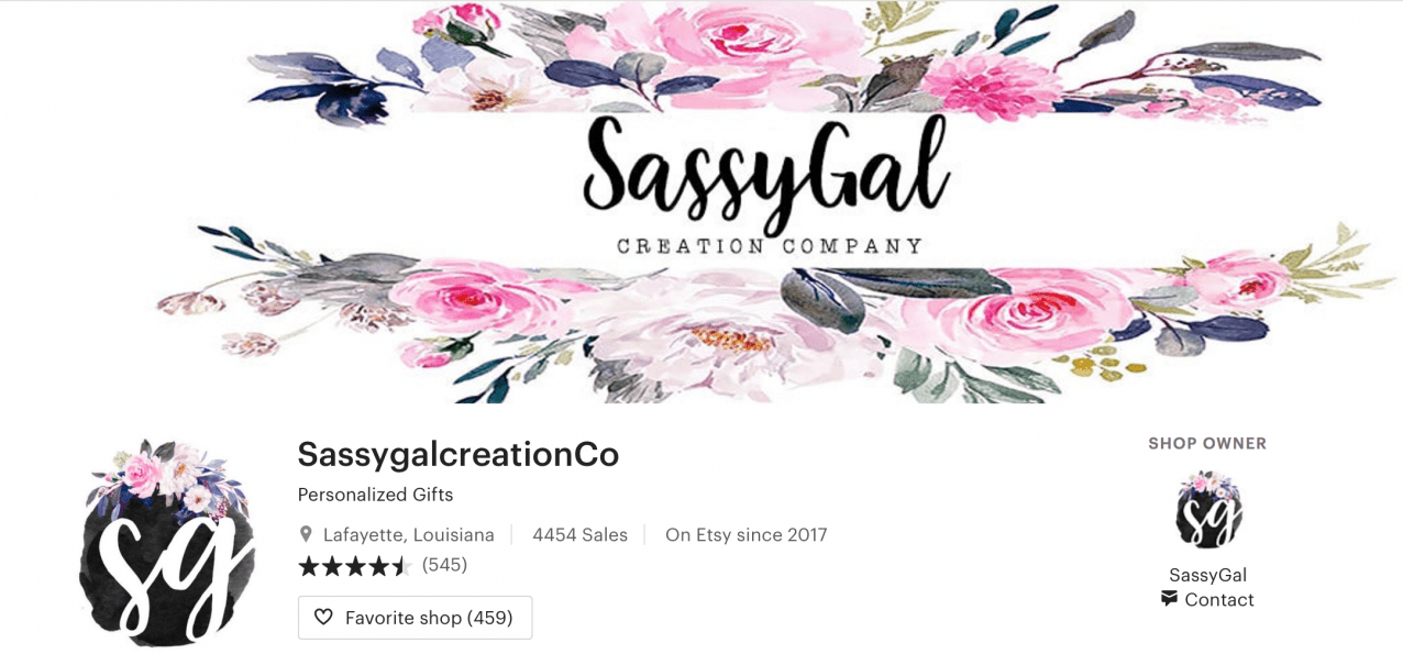 sassygal etsy banner on profile