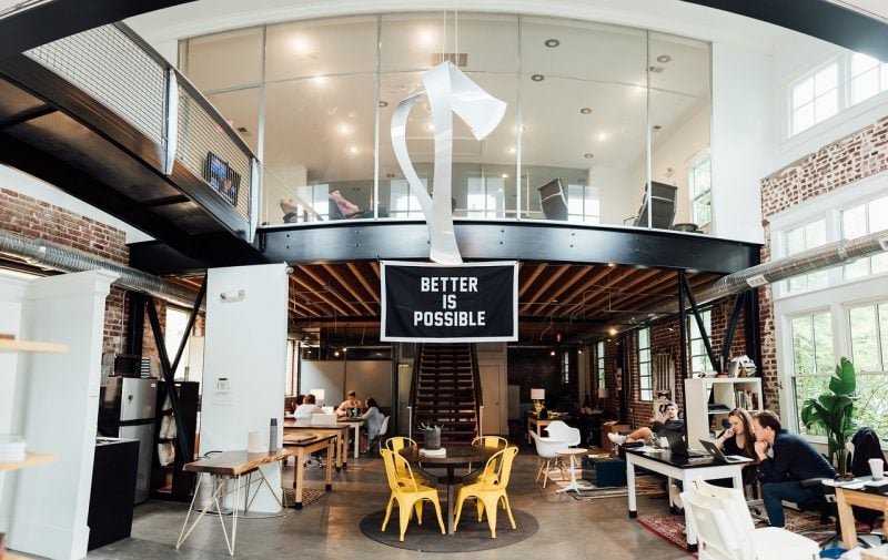 big open office plan at a coworking space