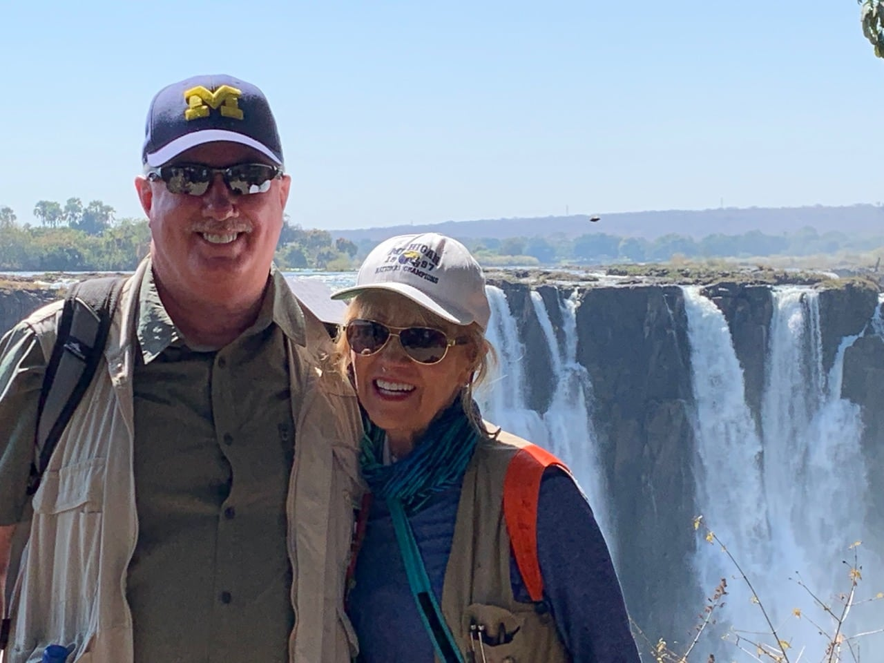 Mark Oakeson, '80, met fellow alumna Judy Erwin Wilkerson, '66, during a visit to Victoria Falls in Zimbabwe. Mark's wife, Lu, took the photo.