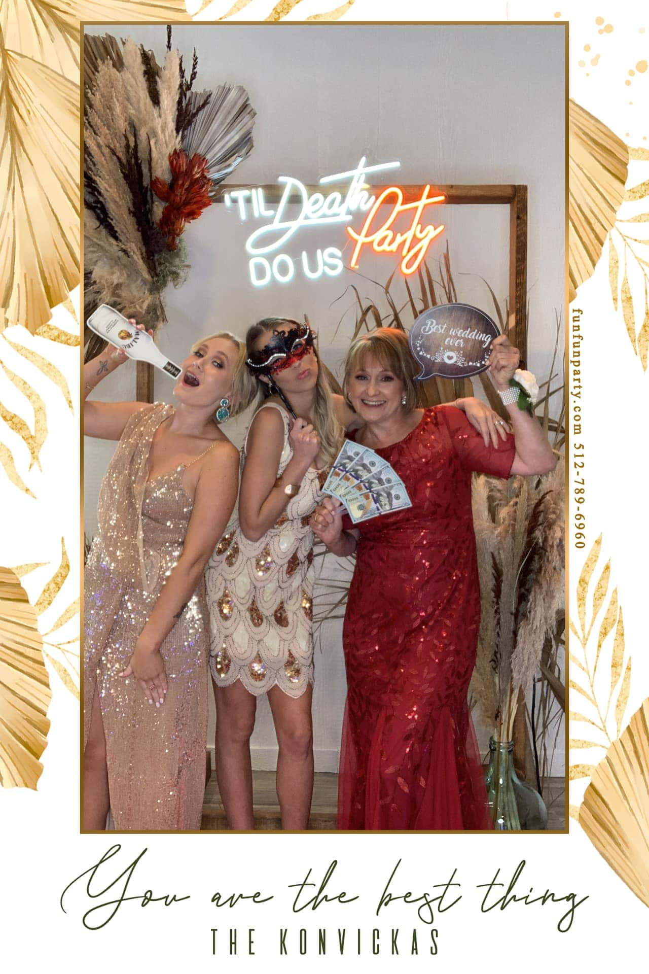 Wedding The Oaks at High Hill | Selfie station Photo booth rental | Schulenburg TX | Fun Fun Party